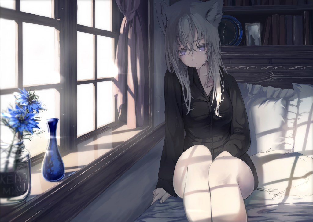 An expressionless catgirl