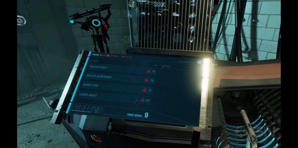 Combine Fabricator pistol upgrades menu