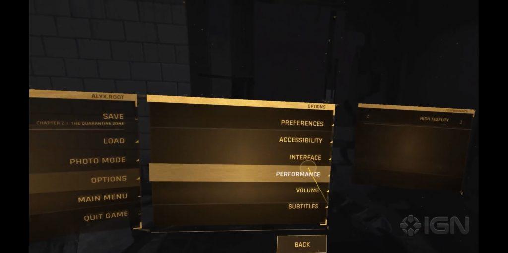 Half-Life: Alyx performance options