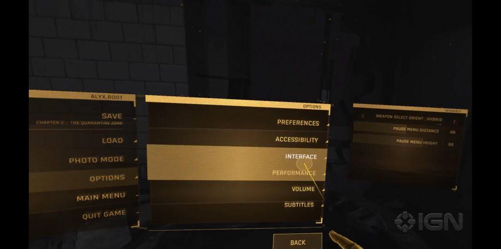 Half-Life: Alyx interface options