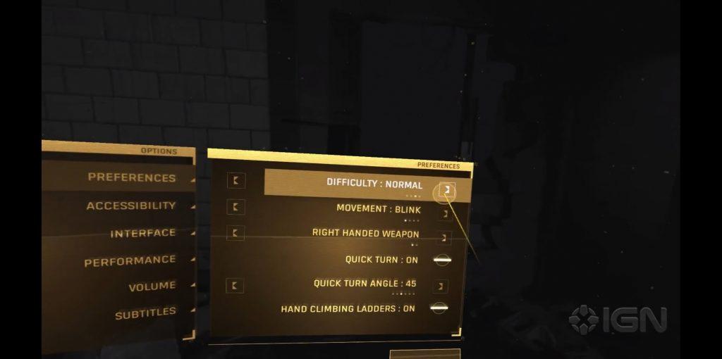 Half-Life: Alyx preferences options