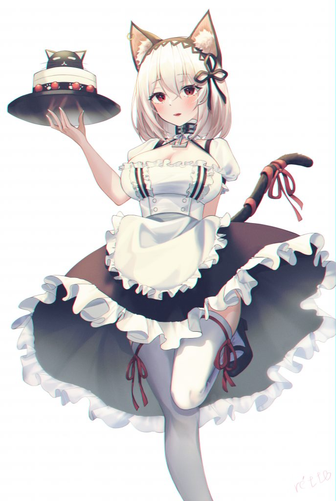 A Neko Maid with cake Art by Rétt